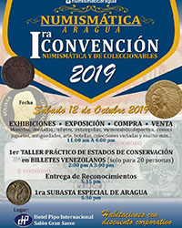 1st numismatic convention and numismatic auction and collectibles Aragua state
